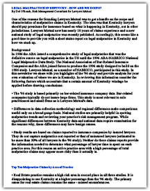 Legal Malpractice in Kentucky: A 1996 Statistical Review of Kentucky Malpractice