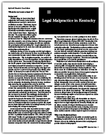 Legal Malpractice in Kentucky: A 2007 Statistical Review of Kentucky Malpractice