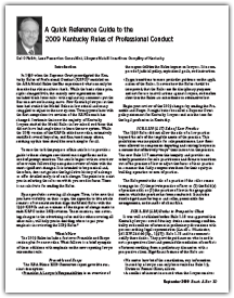 A Quick Reference Guide to the 2009 Kentucky Rules of Professional Conduct